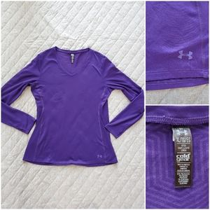 Under Armour purple Fitted Coldgear v-neck top